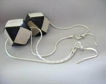 Checkered B&W Octagon Drop Earrings Mother of Pearl black shell Silver Chain Harlequin