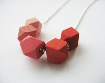 Ombre Cube Necklace Red to Pink Wooden Geometric Cubes Silver Chain Hand Painted