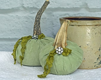 Plush Fabric Pumpkin Set Sage Green Faux Suede, Driftwood Stem Rhinestone Button