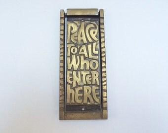 Vintage Bronze Doorknocker Peace 1969