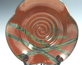 Serving Bowl in Brick Iron Red and blue detail pattern with three corners  side dish salad plate  Ready to Ship