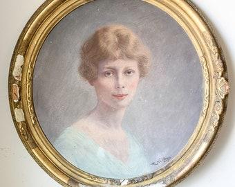 Antique Art Nouveau French Portrait of Young Woman Oil on Canvas