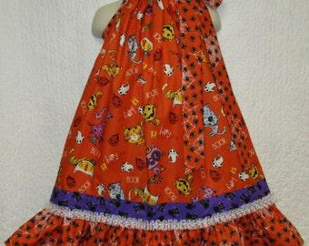 Girls Halloween 4T/5 Dress Pumpkins Spiders Cats Boutique Pillowcase Dress Pillow Case Dress