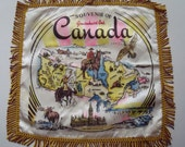 Vintage Souvenir of Gravenhurst Canada Pillow Cover Map of Canada 18 in. square