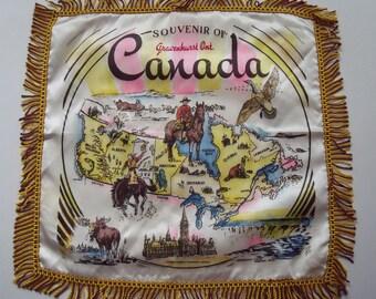Vintage Souvenir of Gravenhurst Canada Pillow Cover Map of Canada 18 in. square