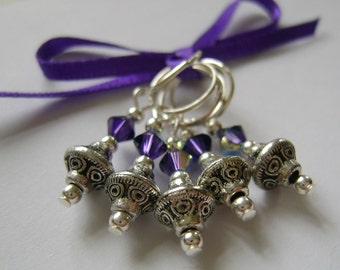 Tibetan Silver Bicone Stitch Markers for Knitting or Crochet