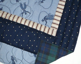 Quilt, Child's, Western, Cowboy, Blue, Tan, 40x50 inches, cotton