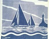Vintage Nautical Towel Sailboat Rainbow 1934 J Class America's Cup Guest Linen