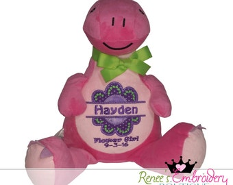 Personalized Baby Girl Gift, Custom Embroidery Birth Announcement, Stuffed Animal Child Keepsake Toy