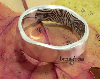 Organic Edge Handcrafted Fingerprint Wedding Band with a Tip Print on the Inside in Sterling Silver, Fingerprint Ring