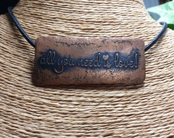 Copper Necklace, Etched Copper Necklace, Personalized, Black Stitched Leather