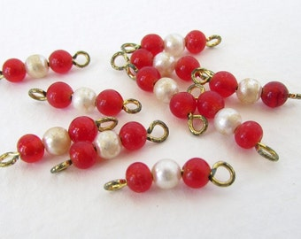 Vintage Glass Beads Connectors Ruby Red Pearl Drops Charms Brass Wire vgb0872 (10, 30 beads)