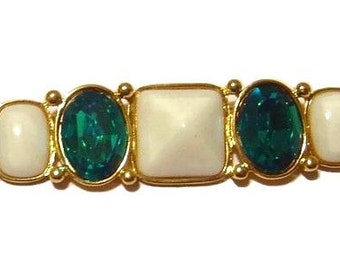 YVES SAINT LAURENT Brooch pin white cabochons and aqua color glass stones