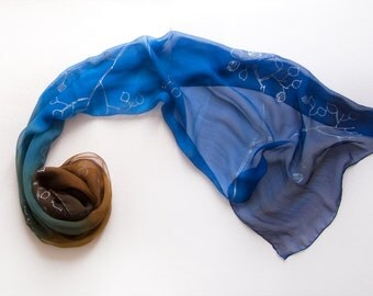Ombre silk chiffon scarf/ Hand painted scarf in blue brown gradation/ Long decorative scarf silver leaves/ Blue brown scarf/ Ship Next Day