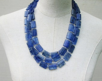 Sapphire Blue Multi Strand Beaded Layered Necklace, Long Cobalt Beads