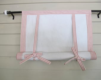 """Red Ticking 60"""" Long Roll Up Window Shade Mitered Banding Tie Up Rolled Curtain"""