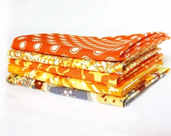 fat quarter bundle - five coordinating cotton prints in orange, yellow, and gray