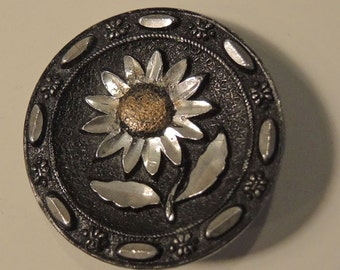 Vintage Mosaic Daisy Button - Cut Steel Mosaic Flower Button