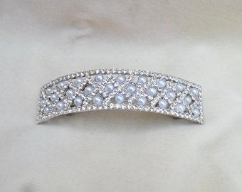 Bridal Crystal And Pearl Hair Clip / Swarovski Crystal Hair Clip / Vintage Inspired Hair Clip /  Pearl And Rhinestone Barrette