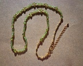 Necklace Peridot Gemstones and Gold Plated Beads with Extension Chain