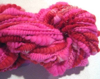 Handspun yarn  yards thread plied with coils and beehives pink green blue art yarn  knitting supplies waldorf doll hair