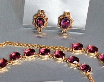 Art Deco, Amethyst Glass Necklace, Brooch, Earrings, Faceted, Gold Filled, 1930's Jewelry
