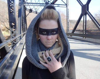 Grey and Tan Infinity Scarf: The Priss