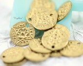 11mm Brass Patterned Round Charms with One Hole - 8