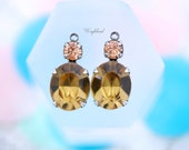 Oval Rhinestone Swarovski Crystal Antiqued Silver Filled Settings Earring Drops Light Colorado Topaz & Light Peach - 2