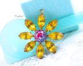 Rhinestone Daisy Flower Pendant Charm Vintage Set Stones Topaz & Fused Light Sapphire Fuchsia 30mm