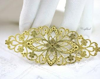 Ornate Diamond Shape Floral Filigree Stamping - 2 .