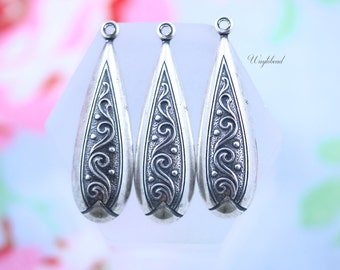 Ornate Long Teardrop Jewelry Findings 9x30mm Antiqued Silver Filled Art Deco Charms - 2