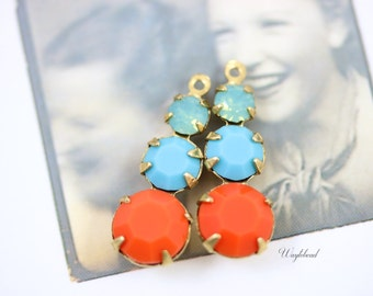 Pacific Green Opal Turquoise Blue and Coral Jewelry Finding Rhinestone Dangles Swarovski Round Set Stones 23mm Charms Earring Component - 2