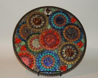 "Lazy Susan, Mosaic, Flower Garden with Bee, 18"" round"
