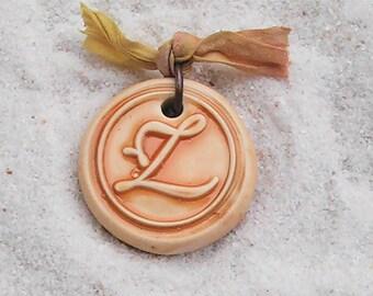 Wax seal monogram polymer clay 'Z' pendant