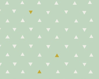 Mint, Gold, Metallic, Triangle, Tokens, Prism, Arizona, April, Rhodes, Designer, Cotton, Art, Gallery, Fabrics, Baby, Unisex, In Custom Cuts