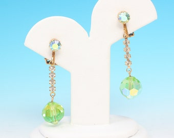 Green AB Crystal Dangle Earrings Clip Style Vintage