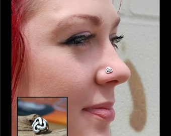 Celtic Knot Nose Stud / Silver Nose Stud / Sterling Nose Bone / Unique Nose Jewelry / Rock Your Nose / Celtic Jewelry /- CUSTOMIZE