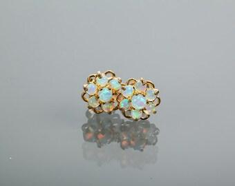 Earrings - Opal Cluster Earrings-Pierced