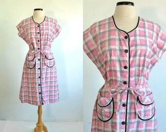 50s Vintage Dress Button Down Plaid 40s Cotton Day Dress - Plus Size - XXL