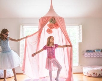 Play Canopy - Made in USA - Blush Pink - Hanging Princess Tent - Free Shipping-  Made to Order