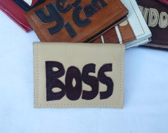 leather card holder, the boss, leather wallet, credit card, upcycled, leather purse, oystercard holder, applique, leather art