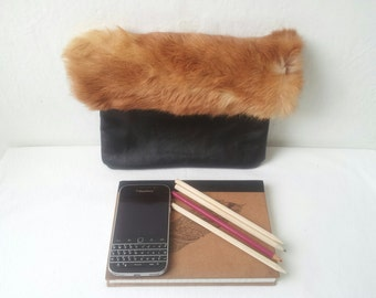 fur and leather clutch bag,recycled, fur clutch, black leather clutch, envelope foldover clutch,fur pouch, pouch, viking fur pouch,furry bag