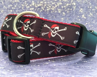 Pirate Skull and Crossbone Dog Collar, In M, L, XL, Jolly Roger