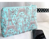 SALE 30% OFF - Cosmetics Bag, Zipper Pouch, Project Bag, Aqua & Brown Eiffel Tower Print Polka Dots
