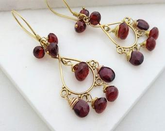 Garnet Earrings, Garnet Chandelier Earrings, Garnet Cluster Earrings. Gold Garnet Earrings, Bollywood Asian Statement  Earrings.