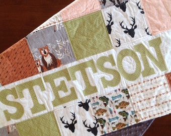 Blanket-Baby Blanket-Baby Quilt-Patchwork-Personalized Baby Quilt-Woodland-Crib Bedding-Baby Minky Blanket-Crib Bedding-Deer-Bear-Fish
