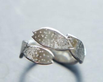 Cherry Blossom Ring, Sakura Silver Open Ring, Wabi Sabi, Adjustable Japanese Jewelry