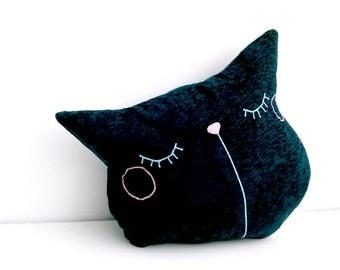 Unfilled Black Cat Pillow, Throw Pillow Black, Decorative Pillow, Travel Pillow, Cat Cushion, Gift For Him, Pillow DIY - Sleepy Kitty