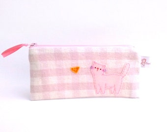 Soft pink gingham pencil case with cute cat school supplies school purse pouch zipper pencil pouch stocking stuffer christmas gift for teens